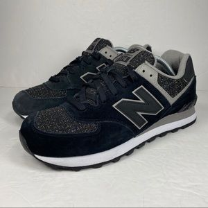 New Balance 574 Encap Black Suede Sparkle Shoes